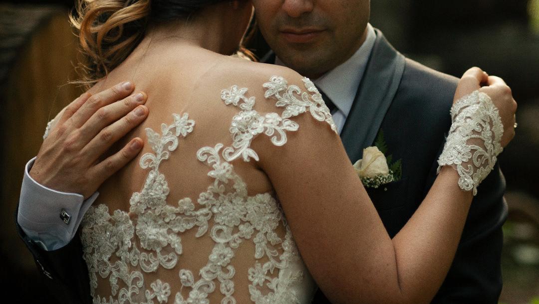 Couple's intimate hug